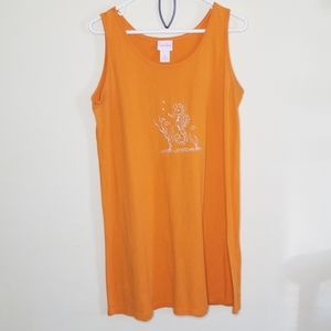 Coral Bay tank dress sz M seahorse embroidered